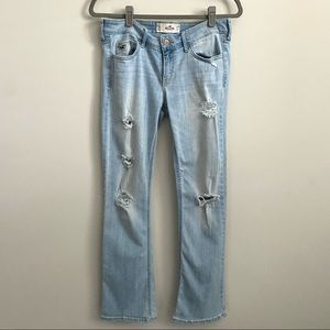 Hollister Light Wash Boot Cut Distressed Jeans